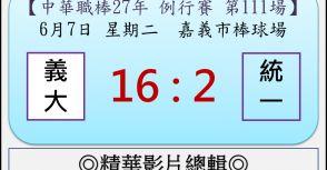 【精華影片總輯】中職27年例行賽-第111場(義大VS統一)