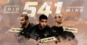 馬刺GDP打破NBA紀錄,成為史上贏波次數最多的三人組!!!