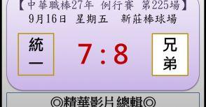 【精華影片總輯】中職27年例行賽-第225場(統一VS兄弟)