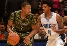 #8 Rudy Gay 2014/15 HWC & #7 Kyle Lowry Military Game/Team Issued Jerseys