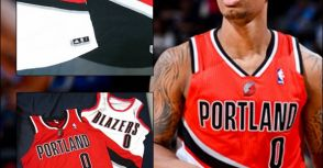 #0 Damian Lillard Blazers Regular Season Type Game/Team Issued Jerseys