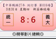 【精華影片總輯】中職27年例行賽-第016場(統一VS義大)