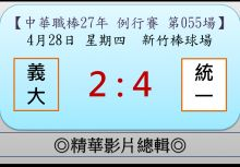 【精華影片總輯】中職27年例行賽-第055場(義大VS統一)