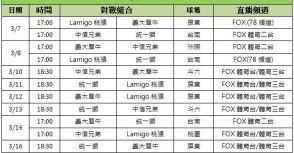 FOX轉播今年中華職棒熱身賽全部場次