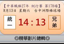 【精華影片總輯】中職27年例行賽-第178場(統一VS兄弟)