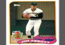傳奇投手 Jim Abbott topps 1989 新人卡