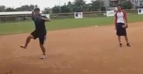 內野反手接球的跳傳與煞車傳球