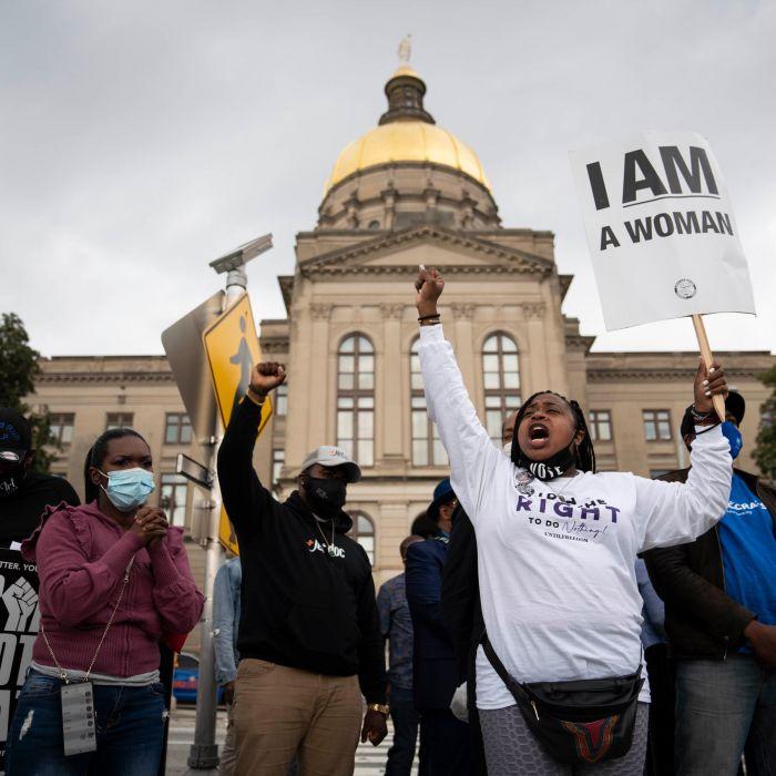 抗議群眾針對喬州新法的抗議